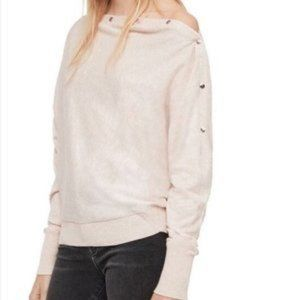 ALLSAINTS Ellie S-Snap Boat Neck Pink Sweater S
